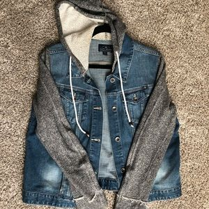 Lucky Brand Jean Jacket with Grey Cloth Sleeves